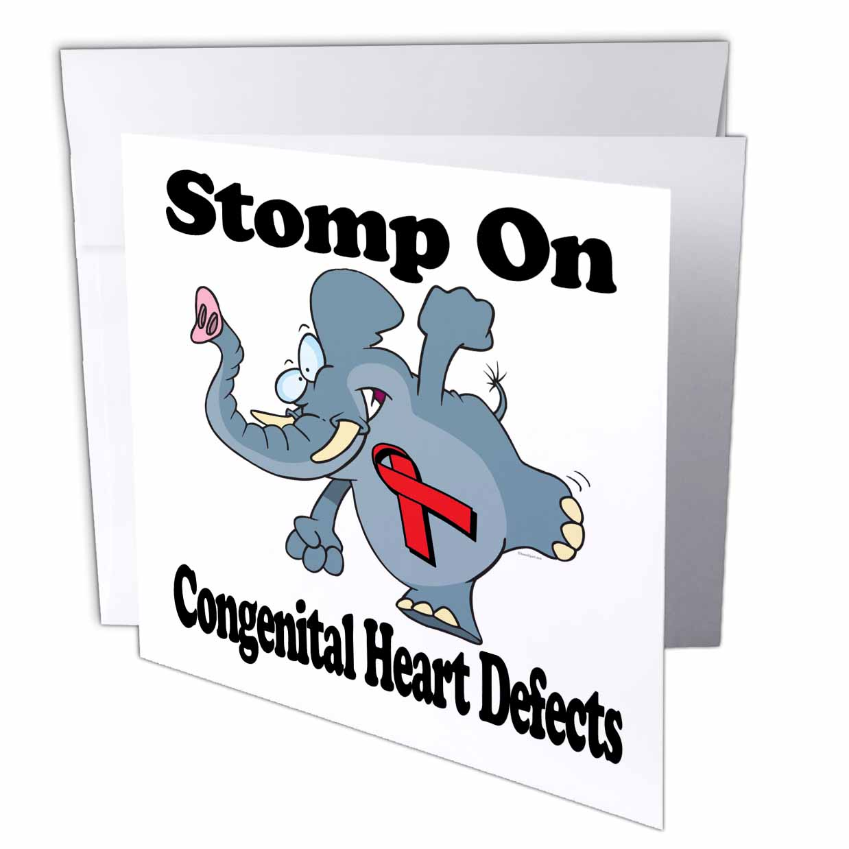 3dRose Elephant Stomp On Congenital Heart Defects Awareness Ribbon Cause Design, Greeting Cards, 6 x 6 inches, set of 12