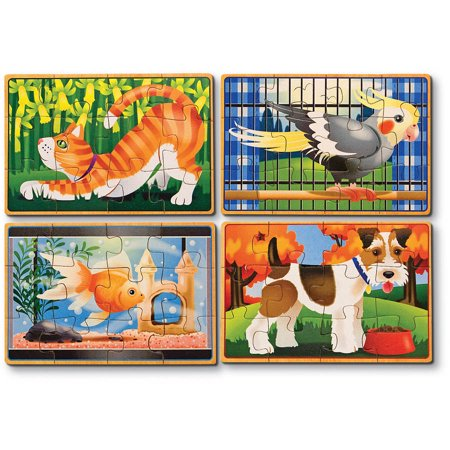 Melissa & Doug Pets 4-in-1 Wooden Jigsaw Puzzles in a Storage Box (48 (Dog Puzzle Box)