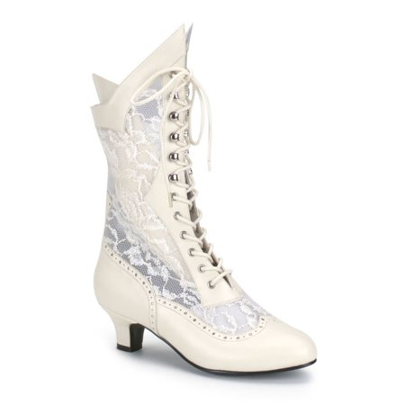 Funtasma Victorian Lace Insert High Boot Assorted Colors DAME-115 - Ivory,7