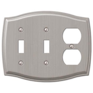 2 toggle 1 duplex combo wall plate cover brushed nickel. Black Bedroom Furniture Sets. Home Design Ideas