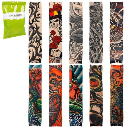 BMC Cool 10pc Fake Temporary Tattoo Sleeves Body Art Arm Stockings Accessories (Tattoo Sleeves)