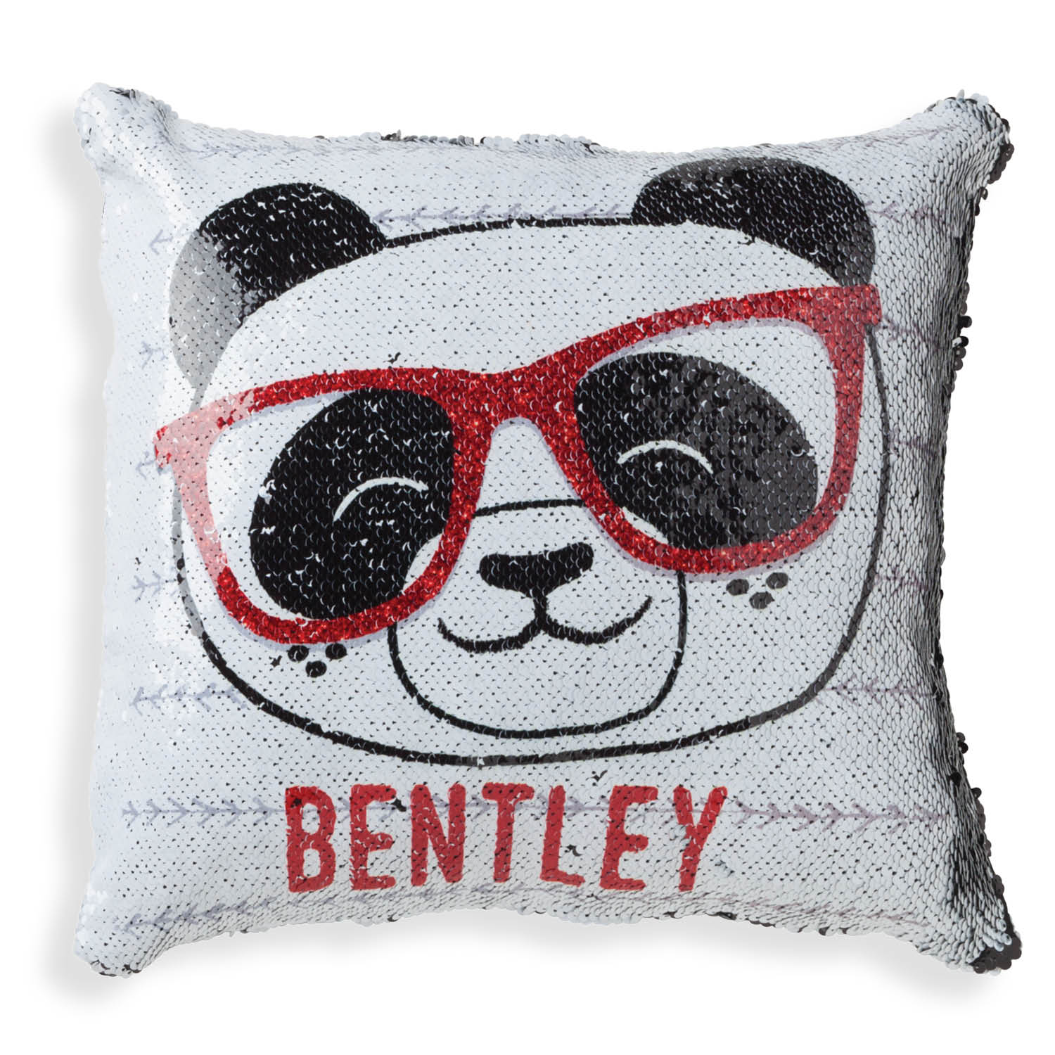 Personalized Panda With Red Glasses Reversible Sequin Pillow - 16x16