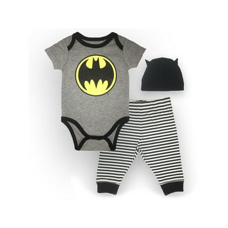 Batman Outfit Ideas (Batman Bodysuit, Pant and Hat Set, 3 pc Set (Baby)
