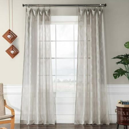 Exclusive Fabrics  Calais Tile Patterned Faux Linen Sheer (Basketweave Tile Pattern)