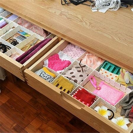 2018 NEW Upgraded 6Pcs DIY Grid Drawer Divider Household Necessities Storage Organizer Plastic Divider for Desk Drawer Closet Space-saving - Diy Desk Organizer