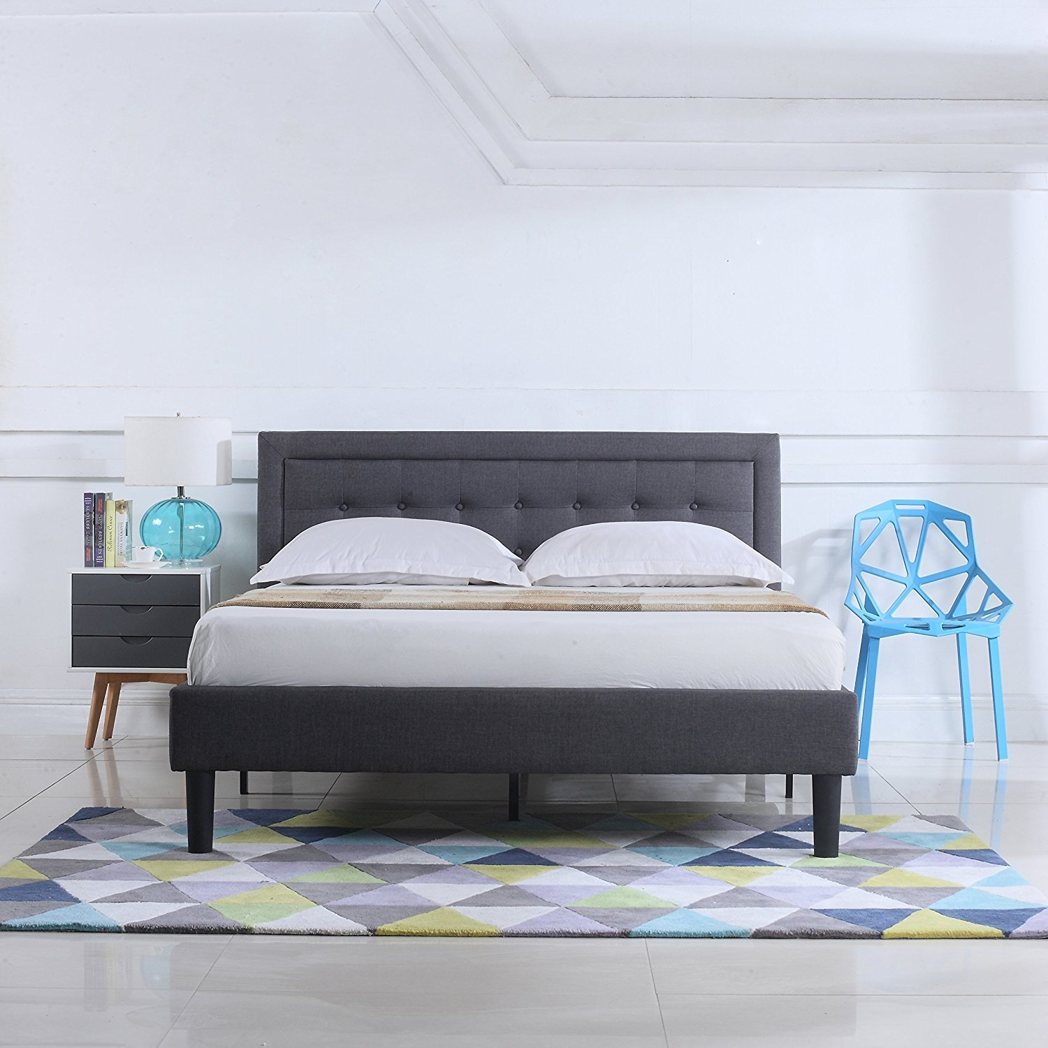Low Profile Modern Bedframe Platform Bed Nailhead Trim ...