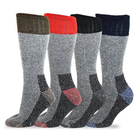 TeeHee Heavyweight Outdoor Wool Thermal Boot Socks 4-Pack (9-11) ()