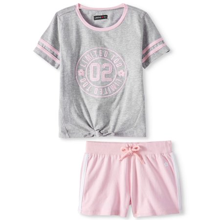 Tie Front Varsity Tee and Short, 2-Piece Outfit Set (Little Girls)
