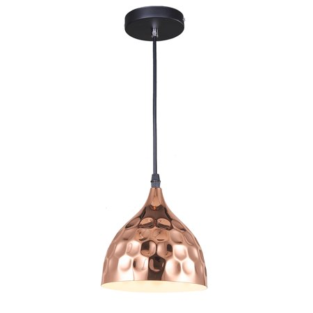 Vidgeon 1-Light Hammer Dent Copper Pendant Edison Bulb Included ()