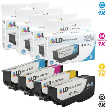 LD Remanufactured Epson 410 / 410XL / T410 Set of 4 High Yield Ink Cartridges (1 Black, 1 Cyan, 1 Magenta & 1 Yellow) for use in Expression XP-530, XP-630, XP-635, XP-640 and XP-830 ()