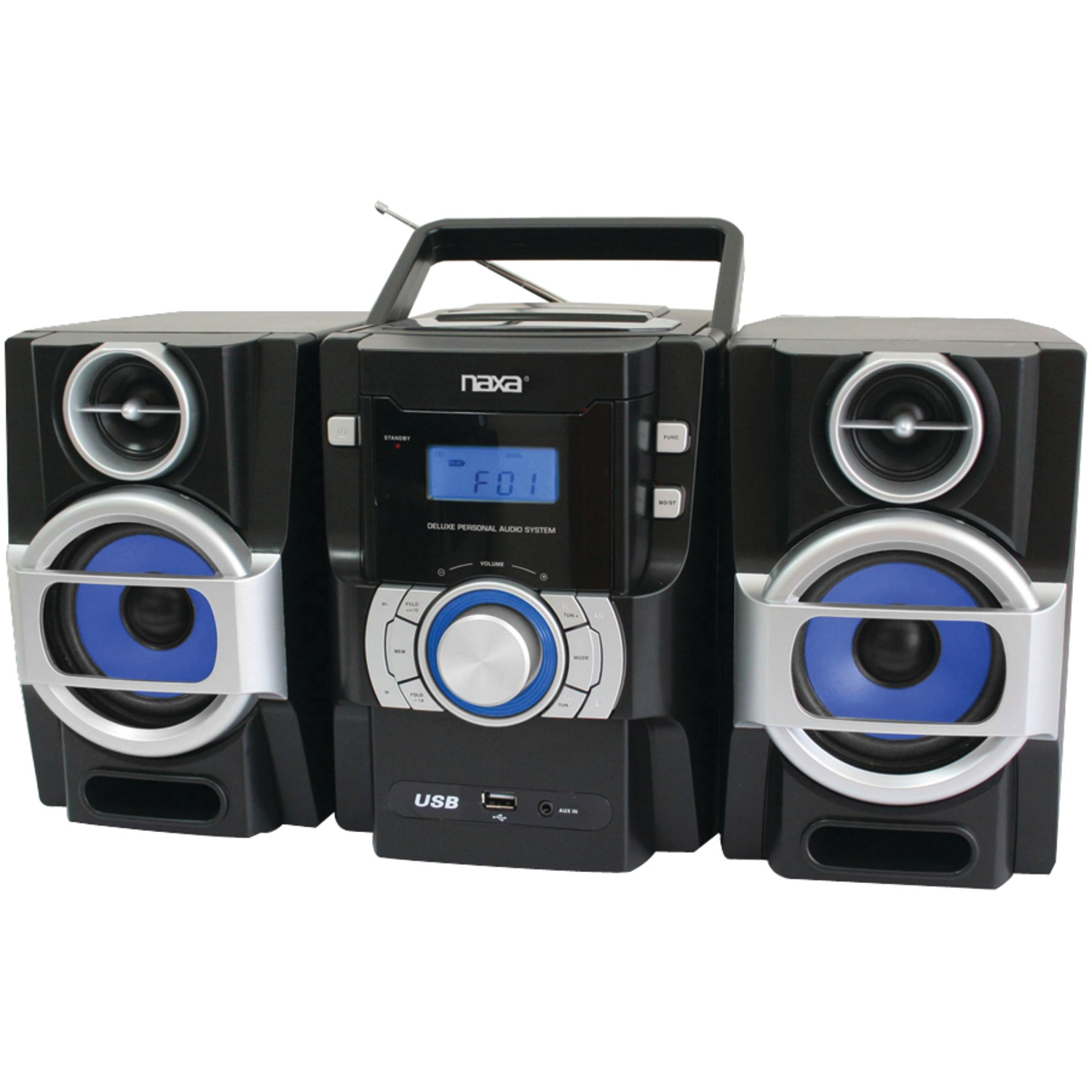 Naxa NPB429 Portable CD/MP3 Player with PLL FM Radio, Detachable Speakers & Remote