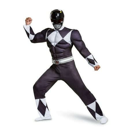 Yellow Mighty Morphin Power Ranger Costume (Power Rangers - Mighty Morphin Black Ranger Classic Muscle Adult Halloween)