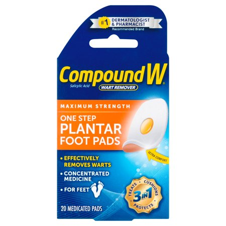 Compound W One Step Plantar Foot Pads Wart Remover, 20