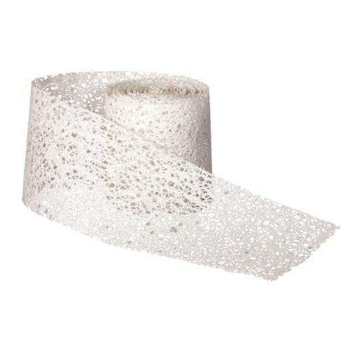 Club Pack of 12 Solid White Decorative Glitter Mesh Ribbon Garlands - Unlit 75""