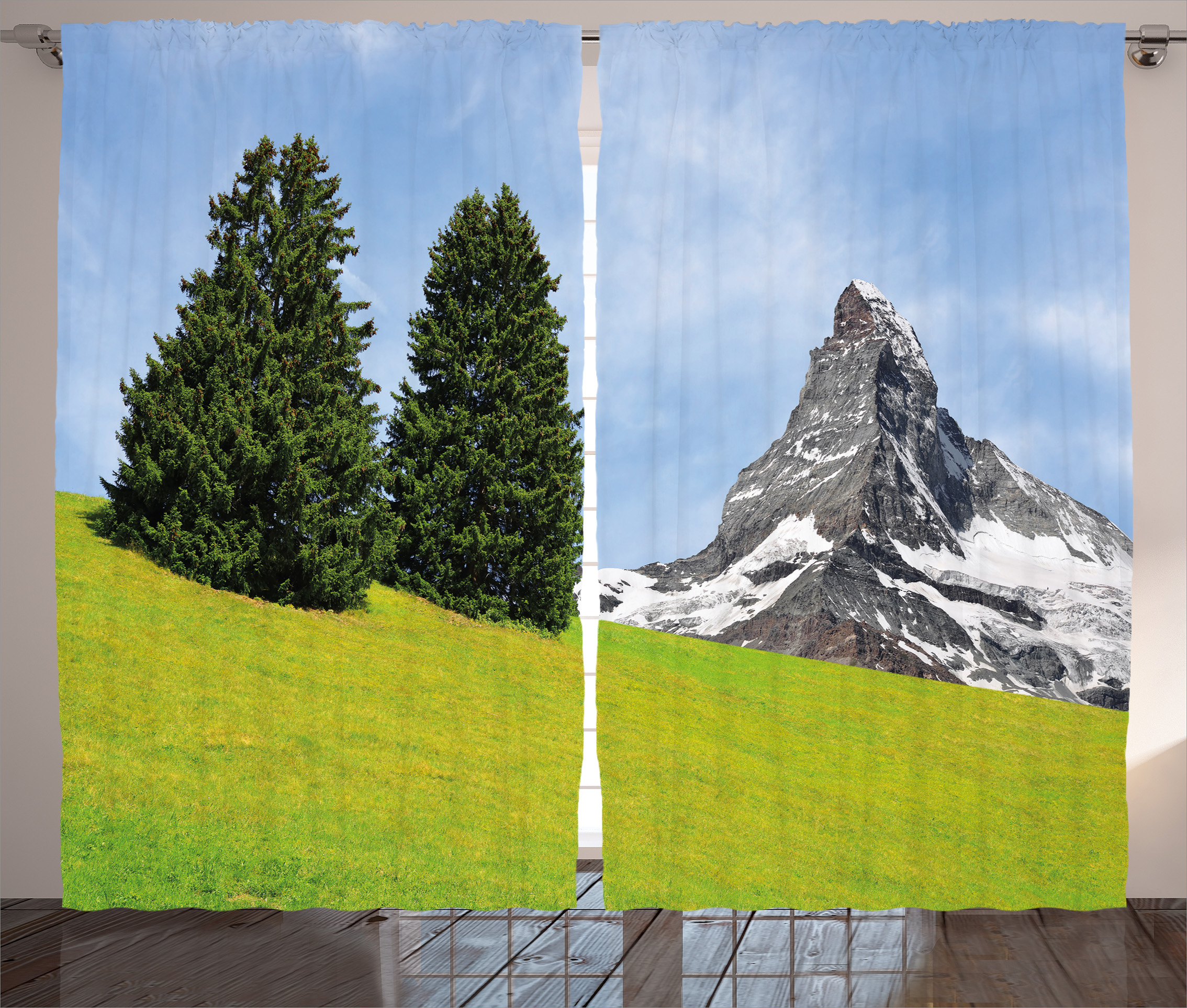 Farmhouse Decor Curtains 2 Panels Set, View of Mountain Matterhorn in Peaceful Summer with Sun Rays Meadow Print, Window Drapes for Living... by Kozmos