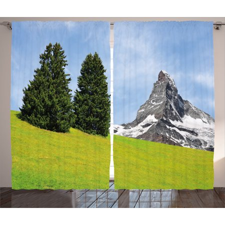 Farmhouse Decor Curtains 2 Panels Set, View of Mountain Matterhorn in Peaceful Summer with Sun Rays Meadow Print, Window Drapes for Living Room Bedroom, 108W X 84L Inches, Green Blue, by Ambesonne - Ray Of Light Farm Halloween