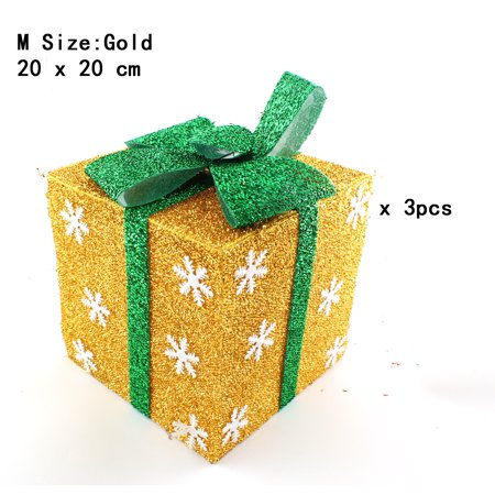 Wooden Christmas Yard Art - Pack of 3 Lighted Christmas Snowflakes Gift Wrap Boxes Yard Art Holiday Decoration (NOT Included LED light), Gold, M