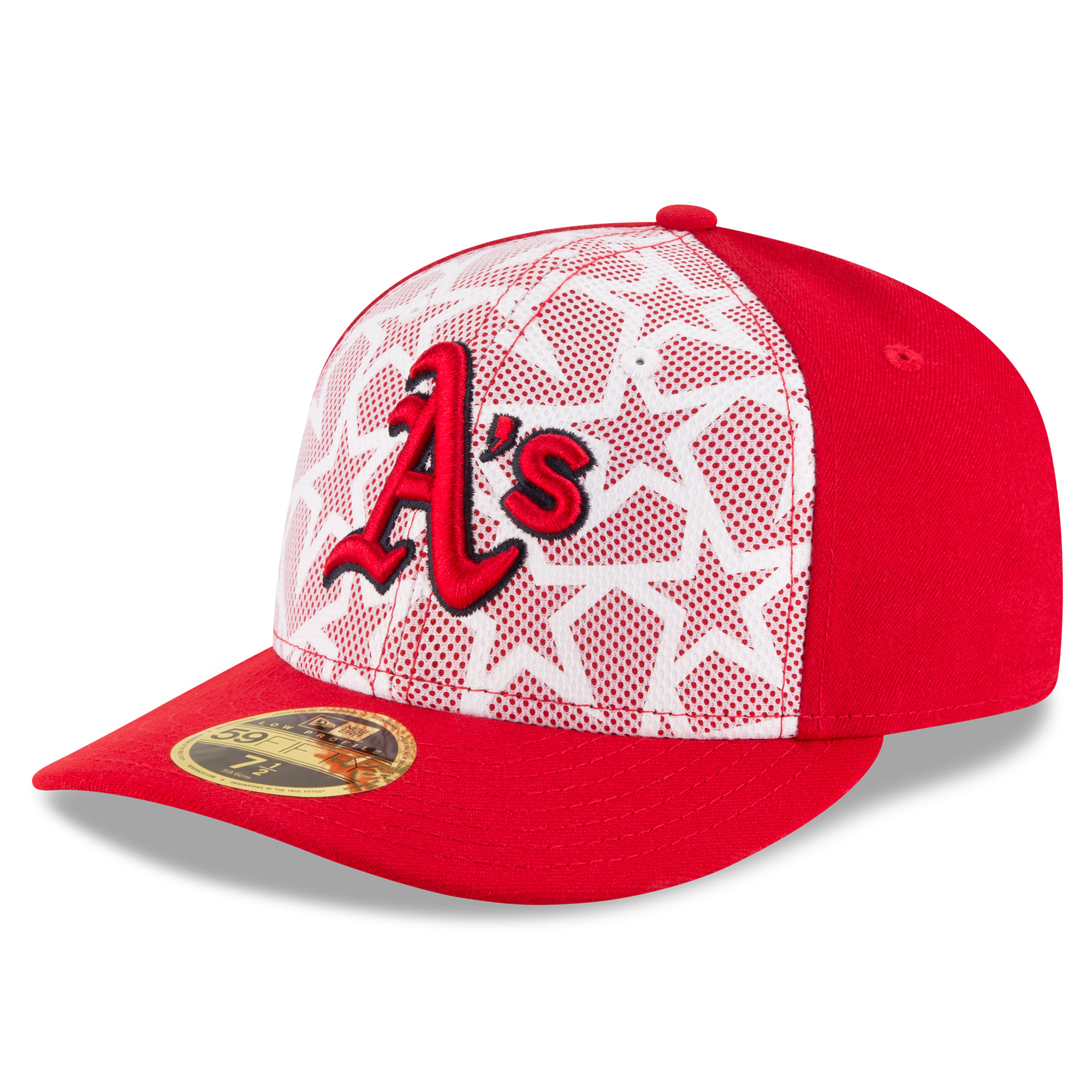 Oakland Athletics New Era Stars & Stripes Low Profile 59FIFTY Fitted Hat - White/Red