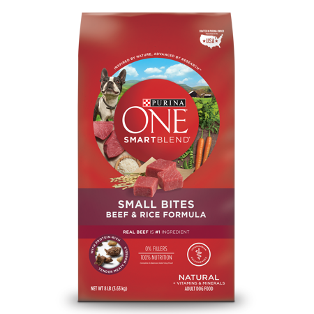 - Purina ONE Natural Dry Dog Food; SmartBlend Small Bites Beef & Rice Formula - 8 lb. Bag