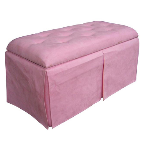 Ore International Microfiber Storage Bench with 2 Matching Ottomans, Pink