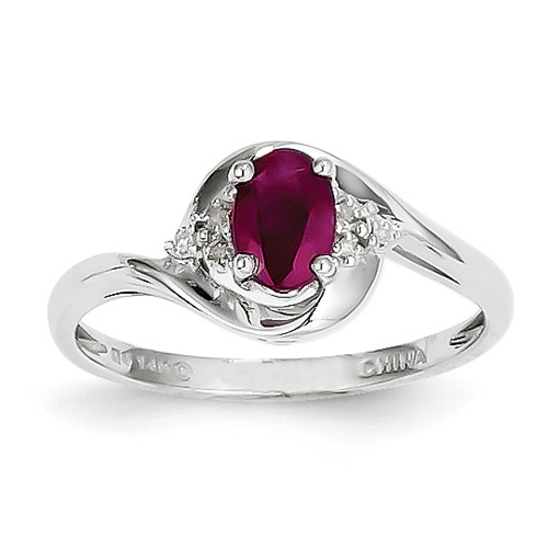 14k White Gold 6x4 Oval Genuine Ruby Diamond Ring by Jewelrypot