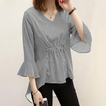 New Women Striped Blouse Flare Sleeves V-Neck High-Low Hem Elastic Waist Elegant Long Shirt Top Pullover Elastic Waist Long Sleeve Skirt