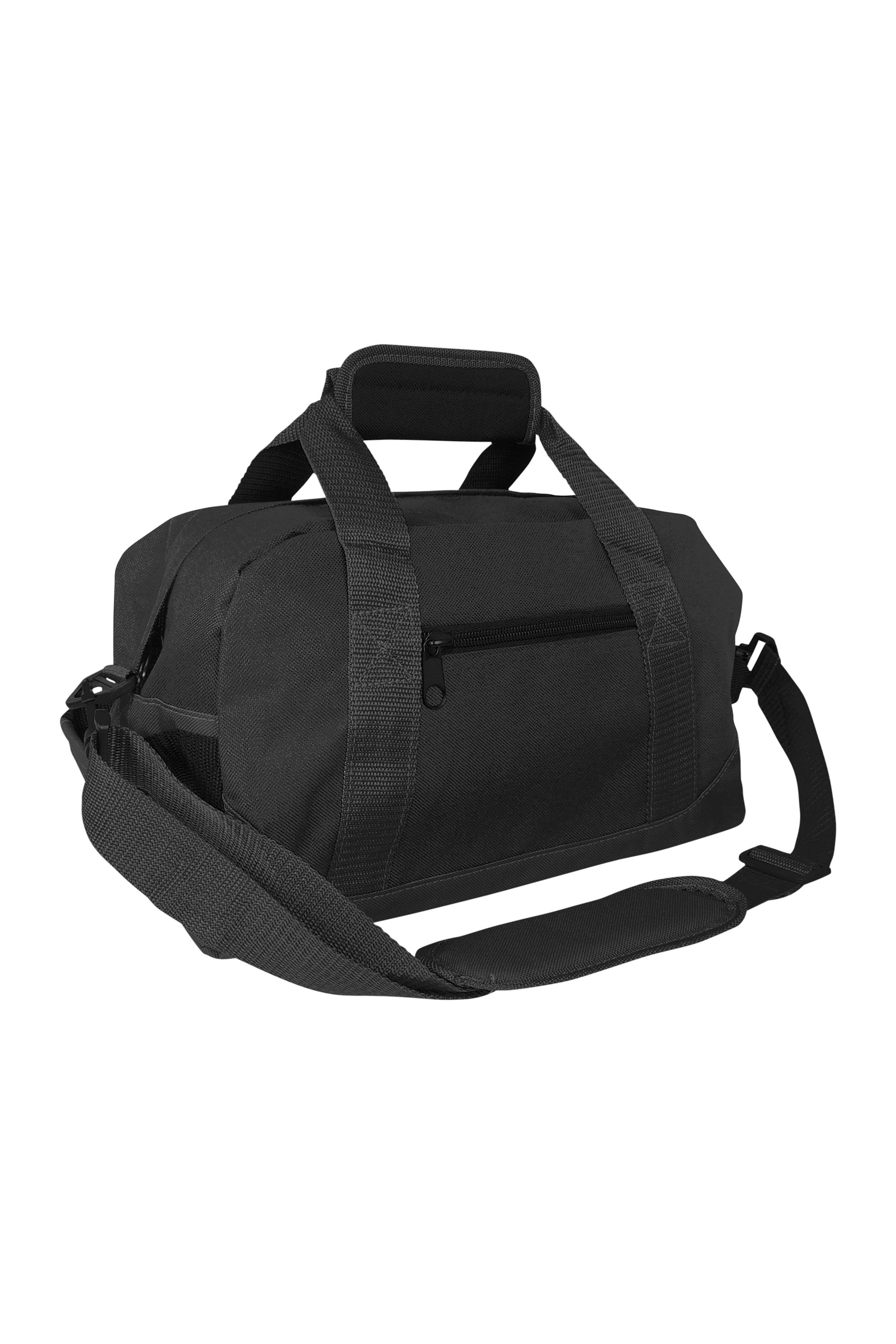 "DALIX 14"" Small Duffel Bag Gym Duffle Two Tone in Black with Shoulder Strap"