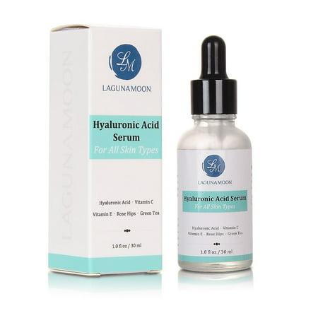 Lagunamoon Womens Hyaluronic Acid Serum Anti-Aging Serum For Face Ladies Amara Organics Vitamin C Serum for All Skin Types 1.0 fl oz/30ml Reduces Wrinkles Fine Lines More For Youthful Radiant Skin