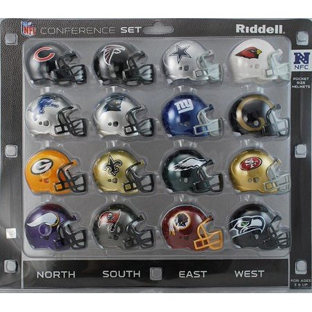 NFL NFC Conference Pocket Size Helmet Set (16-Piece), Helmets are approximately 2 tall By Riddell