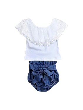 cc6b09d9e Product Image Baby Infant Girl Lace Lotus Collar Shirt Big Bow Denim Shorts  Pant Clothes Set