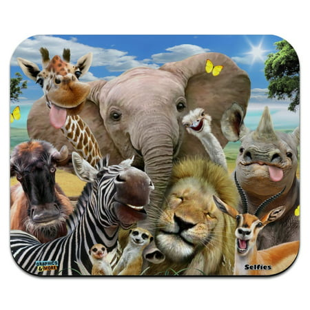 Africa Animals Selfie Giraffe Elephant Lion Zebra Low Profile Thin Mouse Pad (Low Profile Backup Pad)