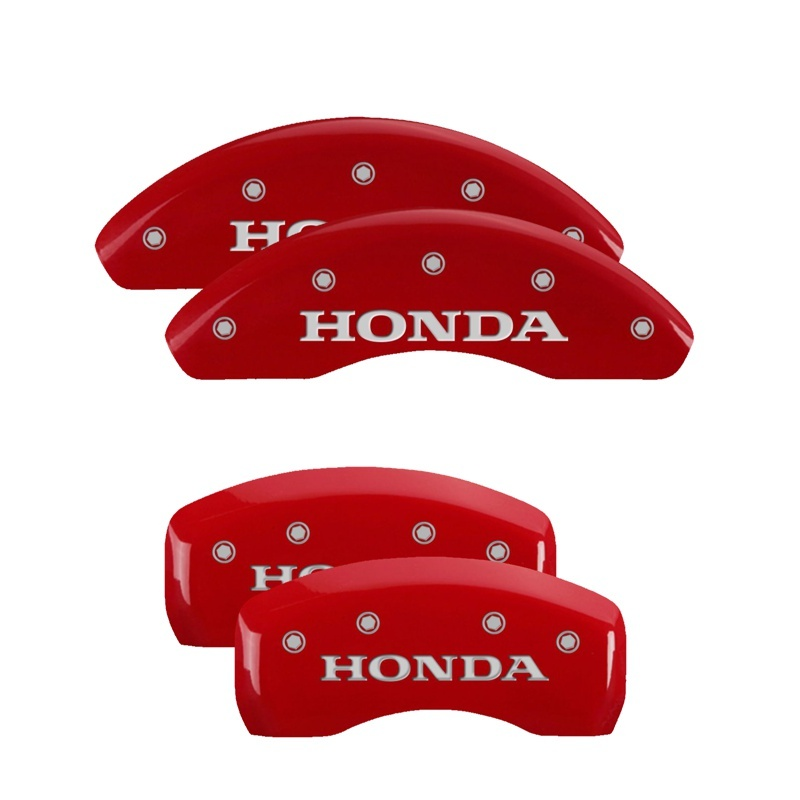 MGP 4 Caliper Covers Engraved Front & Rear Honda Red finish silver ch