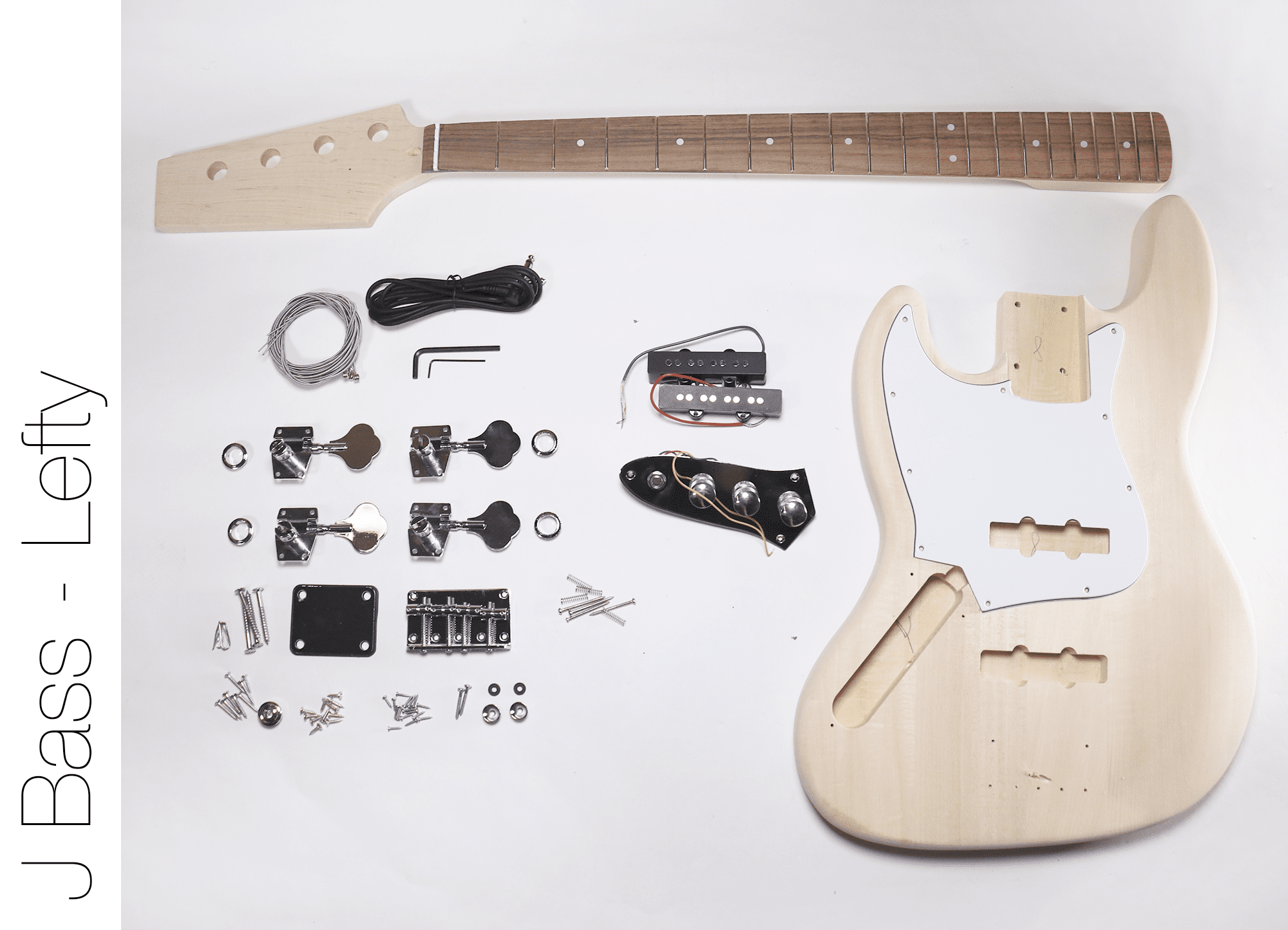 DIY Electric Bass Guitar Kit J Bass Left Hand Bass Kit by The Fret Wire