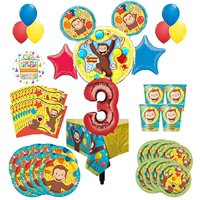Curious George Party Supplies 8 Guest Kit 3rd Birthday Balloon Bouquet Decorations