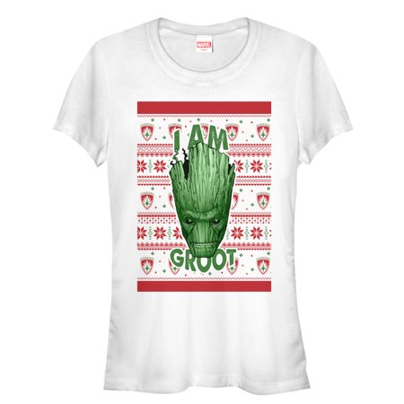 3de18cac8 Marvel Juniors' Ugly Christmas Sweater Guardians of the Galaxy Groot  Portrait T-Shirt