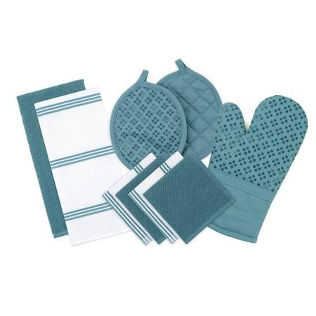 Sticky Toffee, 9 Piece Set, Silicone Printed Oven Mitt & Pot Holder, Cotton Terry Kitchen Dish Towel & Dishcloth, Blue Kitchen Towels Mitt