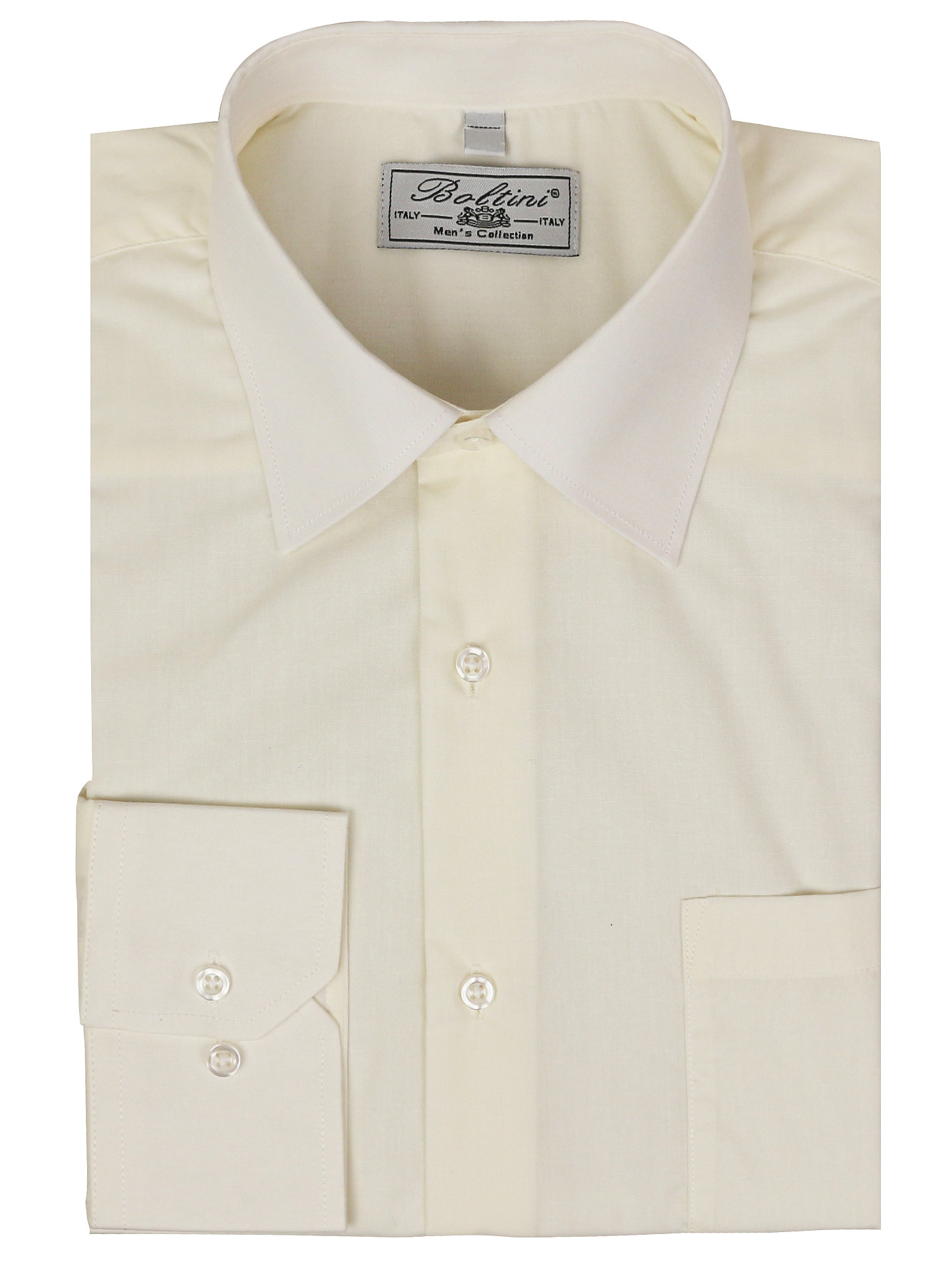 Boltini Italy - Men's Classic Solid Long Sleeve Barrel Cuff Dress Shirt (Ivory, Large 34/35) - Walmart.com