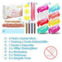 DIY Fluffy Slime Kit Crystal Slime Making Kit 8 Colors for Kids Aged 6+ 8 Colors Slime ,1 Pack Colorful Foam Balls,1 pack Fresh Fruit Decoration, 4 Bottles Glitter Shake Jars