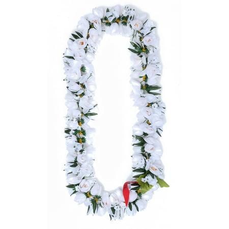 Hawaiian Luau Party Kapiolani Tuberose Artificial Fabric Flower Lei White - Artificial Hawaiian Leis