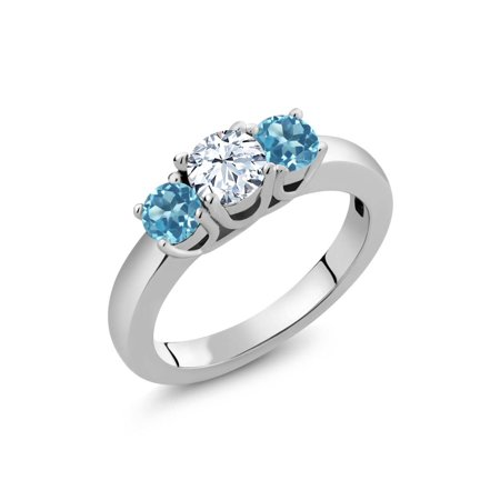 1.16 Ct Round White Topaz Swiss Blue Topaz 925 Sterling Silver (Diamond Open Ring Swiss)