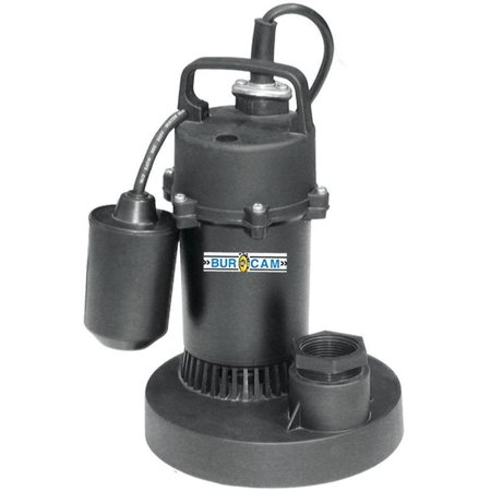 Burcam Deluxe Submersible Sump Pump With Mechanical Float Switch, 1000 gph, 1/2 hp, 115