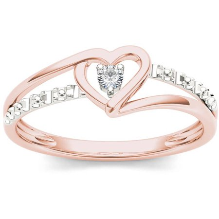 1/20 Carat T.W. Diamond Split Shank Two-Tone Heart 10kt Rose Gold Fashion Ring