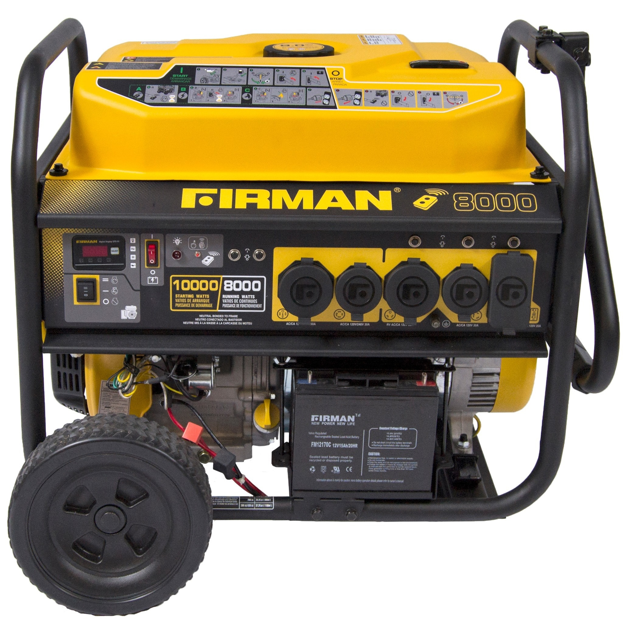Firman P08003 Portable Generator 8,000   10,000 Watt with Remote Start & Wheel Kit by Sumec