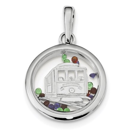 925 Sterling Silver Cable Car Floating Glass Beads Pendant Charm Necklace Travel Transportation Gifts For Women For Her