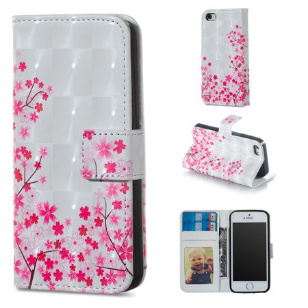 iPhone 5 5S Case Wallet, iPhone SE Case, Allytech 3D Emboss Leather Flip Protective Case Cover & Credit Card Slots Pocket, Support Kickstand Slim Case for Apple iPhone 5 5S SE (Pink Flower) ()