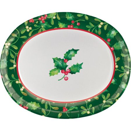 The Holiday Aisle Moffett Holly Oval Paper Dinner Plate (Set of 24)