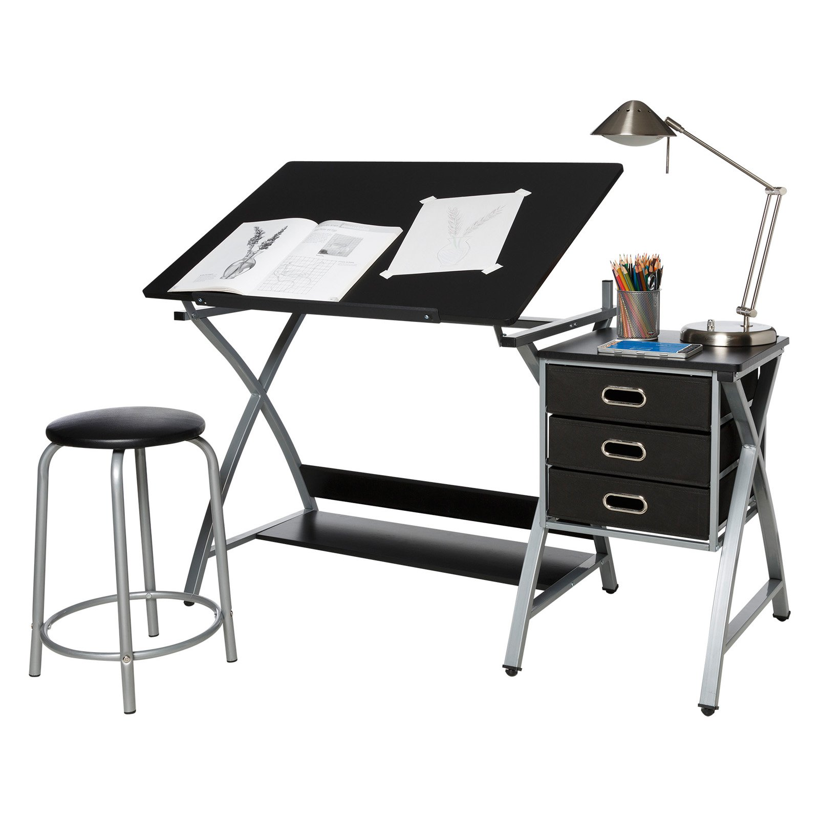 Comfort Products Craft Station with Stool in Black and Silver
