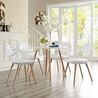 Modway Basket Dining Armchair with Vinyl Seat, Set of 4 in White