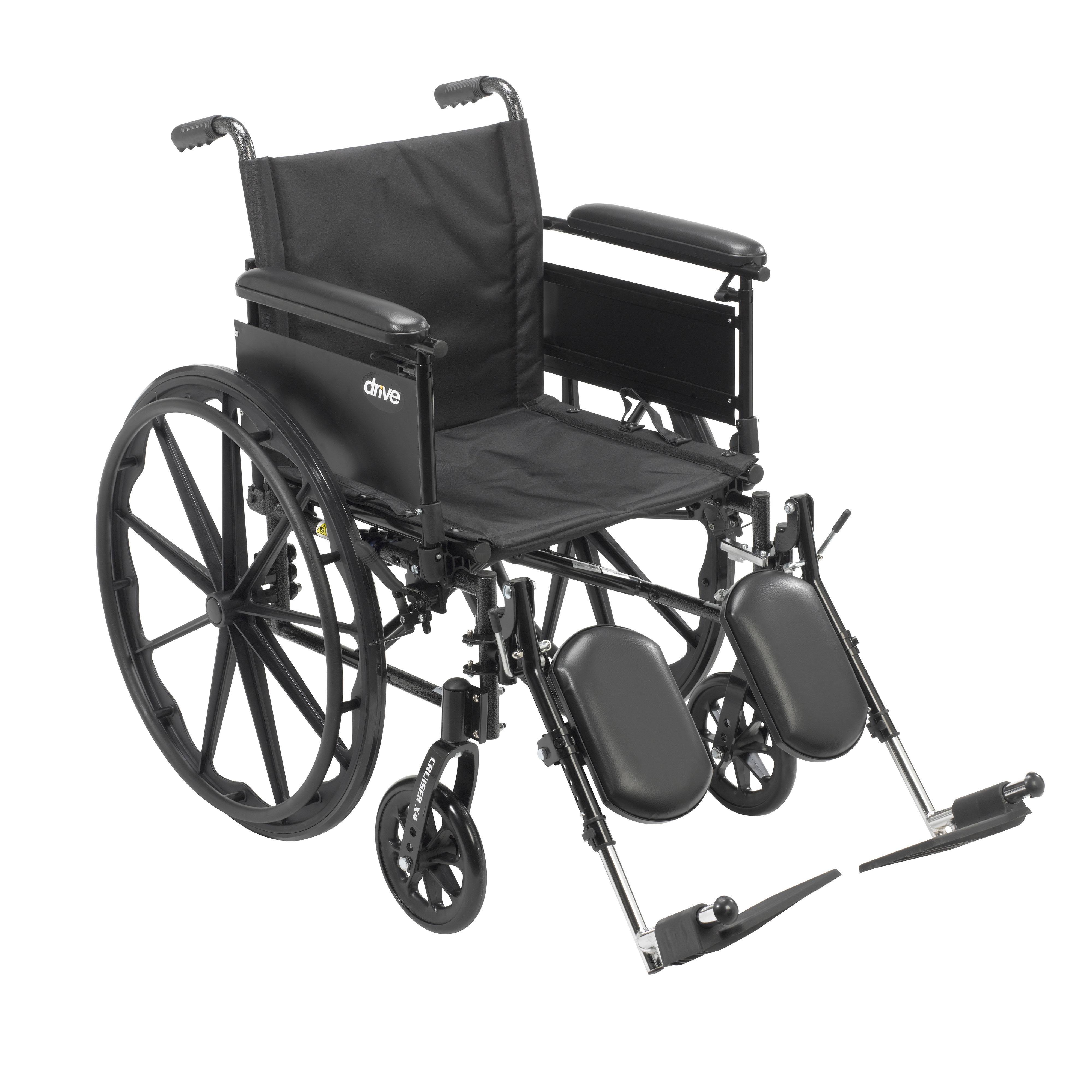 """Drive Medical Cruiser X4 Lightweight Dual Axle Wheelchair with Adjustable Detachable Arms, Full Arms, Elevating Leg Rests, 16"""" Seat"""