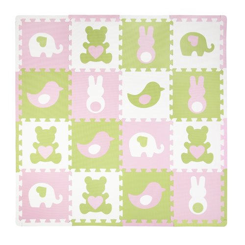Tadpoles Playmat Set, 16pc, Teddy and Friends, Pink/Green